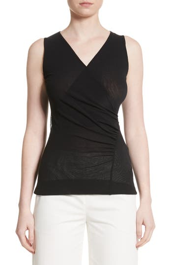Fuzzi Ruched Tulle Tank, Black