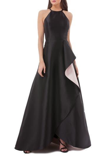 Carmen Marc Valvo Side Drape Mikado Halter Gown, Black
