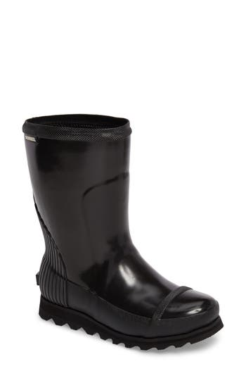 Sorel Joan Glossy Short Rain Boot- Black