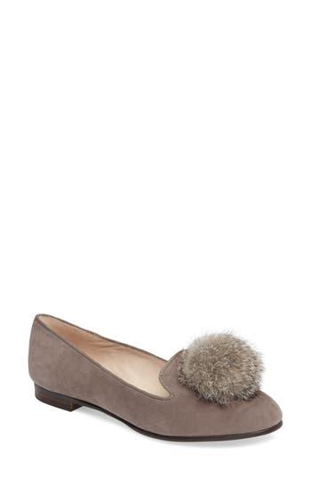 Louise Et Cie Andres Genuine Rabbit Fur Pom Loafer, Grey