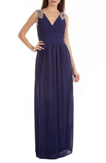 Tfnc Debbie Embellished Pleated Chiffon Gown, Blue
