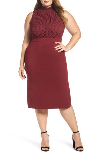Plus Size Lost Ink Textured Sheath Dress, Red