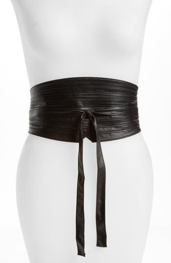 Topshop Faux Leather Obi Wrap Belt, Size One Size - Black