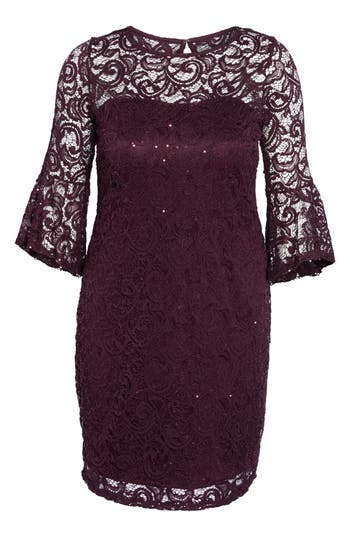 Plus Size Marina Sequin Lace Bell Sleeve Dress, Purple