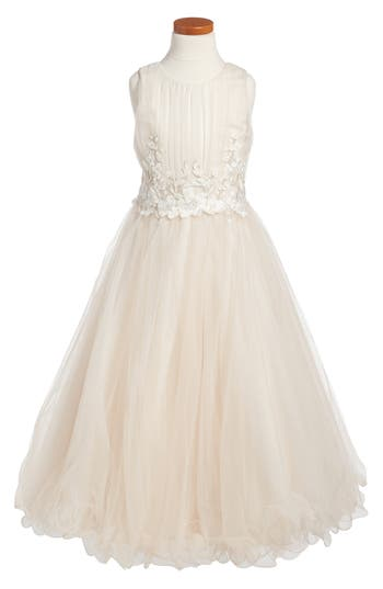 Girl's Joan Calabrese For Mon Cheri Lace & Tulle Dress