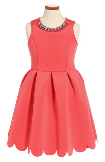 Girl's Soprano Scallop Hem Scuba Dress, Size S (8-10) - Coral