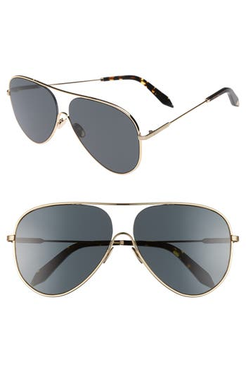 Victoria Beckham Loop 62Mm Oversize Aviator Sunglasses - Gris Fonce