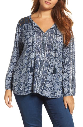 Plus Size Lukcy Brand Beaded Mixed Print Top, Blue