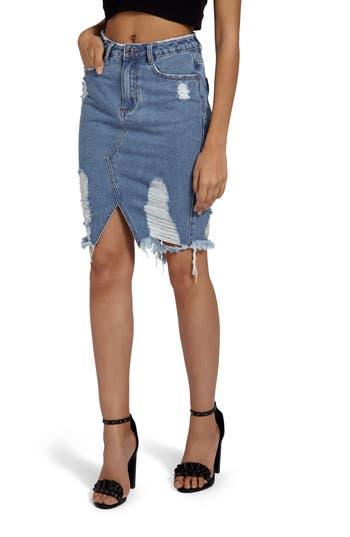 Missguided Distressed Denim Skirt, US / 6 UK Tall - Blue