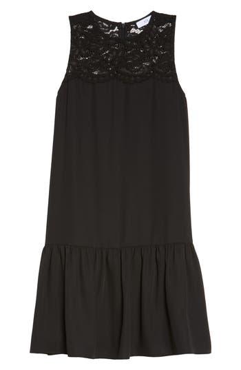 Nsr Lace & Crepe Shift Dress, Black
