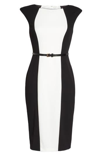 Adrianna Papell Colorblock Crepe Sheath Dress, Black