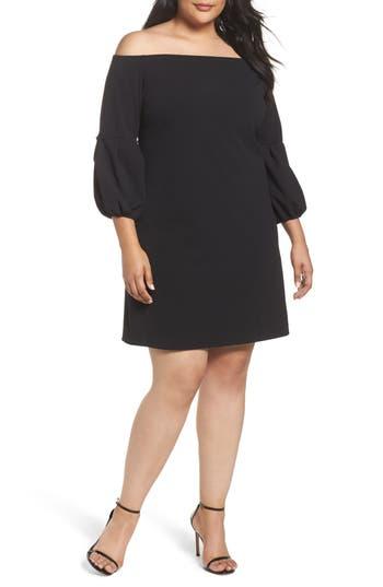 Plus Size Vince Camuto Off The Shoulder Shift Dress, Black