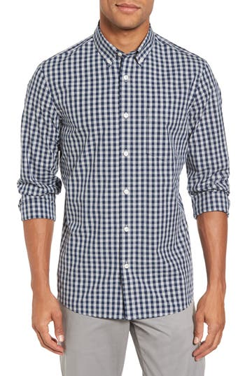 Nordstrom Shop Spade Trim Fit Gingham Check Sport Shirt, Grey