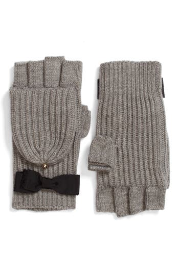 Kate Spade New York Grosgrain Bow Convertible Knit Mittens, Size One Size - Grey