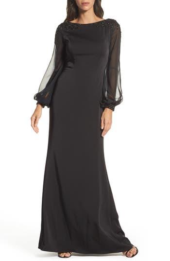 La Femme Beaded Bubble Sleeve Gown, Black