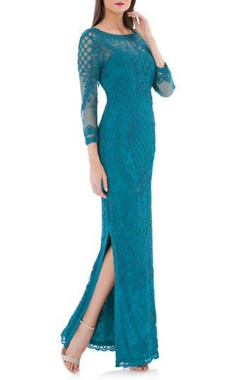 Js Collections Soutache Illusion Gown, Green