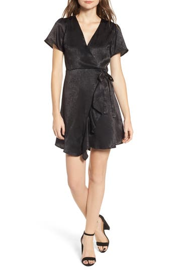 Lush Satin Faux Wrap Dress, Black