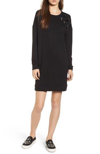 Socialite Grommet Detail Sweatshirt Dress, Black