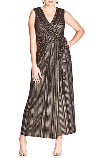 Plus Size Women's City Chic Cleo Faux Wrap Maxi Dress, Size X-Small - Black