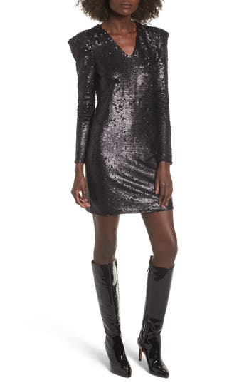 Leith Sequin Dress, Black