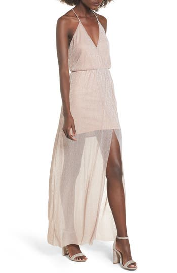 Lush Metallic Surplice Maxi Dress, Pink