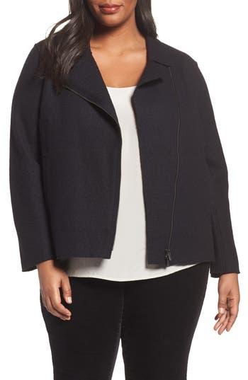 Plus Size Eileen Fisher Boiled Wool Moto Jacket, Black