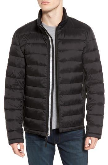 Black Rivet Water Resistant Packable Puffer Jacket, Black