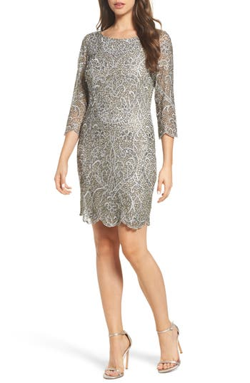 Pisarro Nights Embroidered Cocktail Dress, Metallic