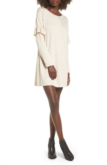 Socialite Ruffle Sleeve Sweater Dress, Ivory