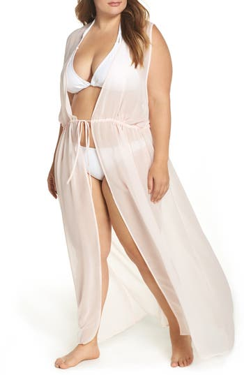 Plus Size Leith Sheer Cover-Up Maxi, Pink