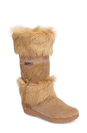 Pajar Laura Genuine Goat Fur Waterproof Boot, Beige