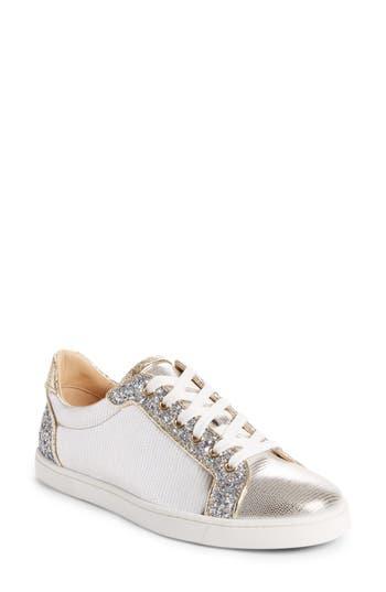 Christian Louboutin Seava Embellished Lizardskin Embossed Sneaker, Metallic