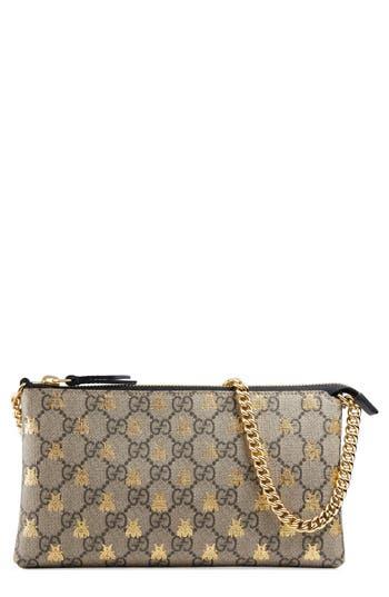 Gucci Linea Bee GG Supreme Wrist Wallet