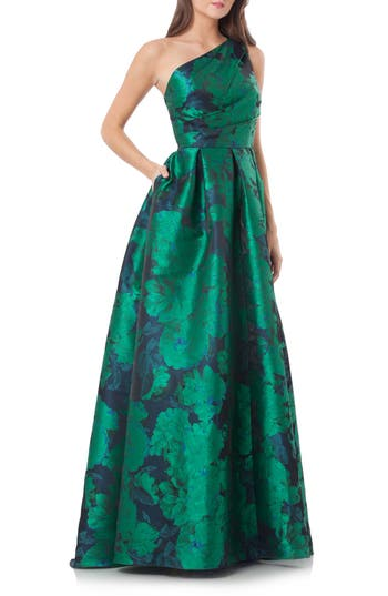 Carmen Marc Valvo Couture Print One-Shoulder Ballgown, Green