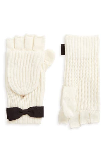 Kate Spade New York Grosgrain Bow Convertible Knit Mittens, Size One Size - Ivory