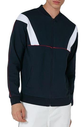 Topman Zip Through Track Sweatshirt, Blue