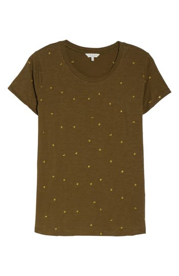 Plus Size Lucky Brand Embroidered Tee, Green