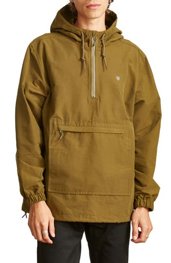 Men's Brixton Patrol Water-Resistant Anorak Jacket, Size Small - Green