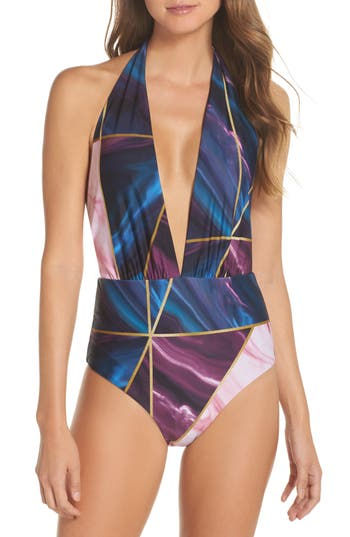 Ted Baker London Balmoral Marble Reversible One-Piece Swimsuit, Blue