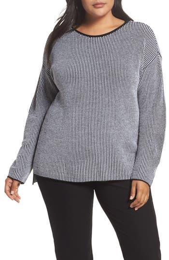 Plus Size Eileen Fisher Textured Merino Wool Sweater, Black