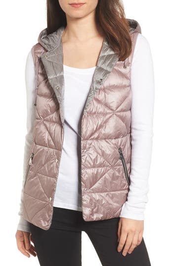 Bernardo Reversible Hooded Down & Primaloft Vest, Pink