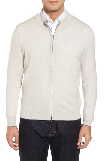 Thomas Dean Merino Blend Full Zip Cardigan, Grey