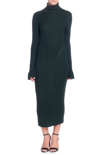 Catherine Catherine Malandrino Camron Turtleneck Midi Dress, Green