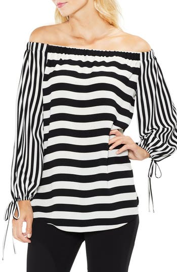 Women's Vince Camuto Off The Shoulder Even Stripe Bubble Sleeve Top, Size XX-Small - Black