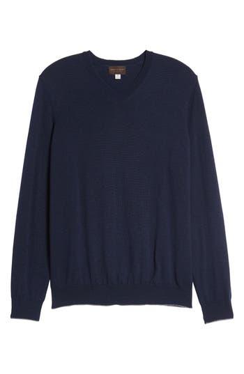 Thomas Dean Merino Wool Blend V-Neck Sweater, Blue