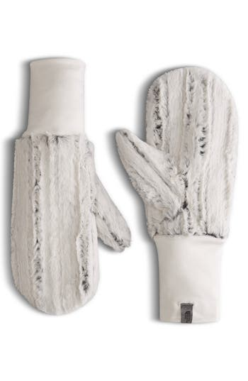 The North Face Furlander Faux Fur Mittens, White