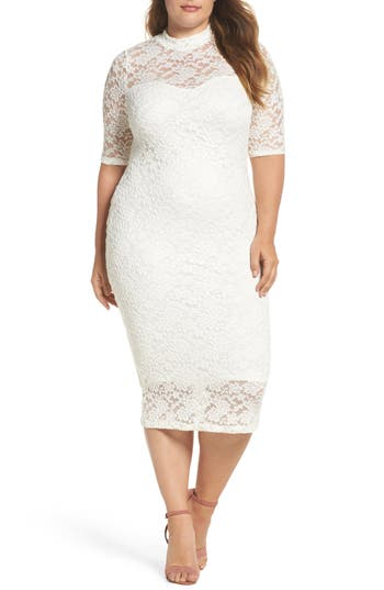 Plus Size Women's Soprano Lace Body-Con Midi Dress, Size 1X - Ivory