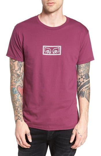 Obey Eyes Graphic Premium T-Shirt, Burgundy