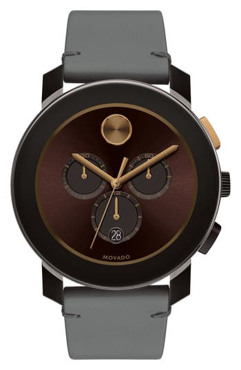 Movado Bold Chronograph Leather Strap Watch, 42mm