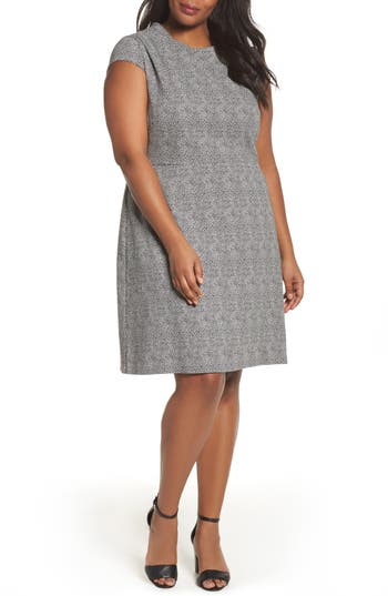 Plus Size Adrianna Papell Spotted Jacquard Fit & Flare Dress, Black